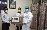 पीडीकेएफ ने हरिबक्श कांवटिया चिकित्सालय को डोनेट किए 2 हजार फेस मास्क और 130 सेनिटाइजर